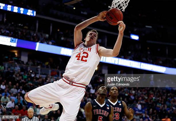 Jakob Poeltl of the Utah Utes rebounds against the Fresno State Bulldogs in the second half during the first round of the 2016 NCAA Men's Basketball...