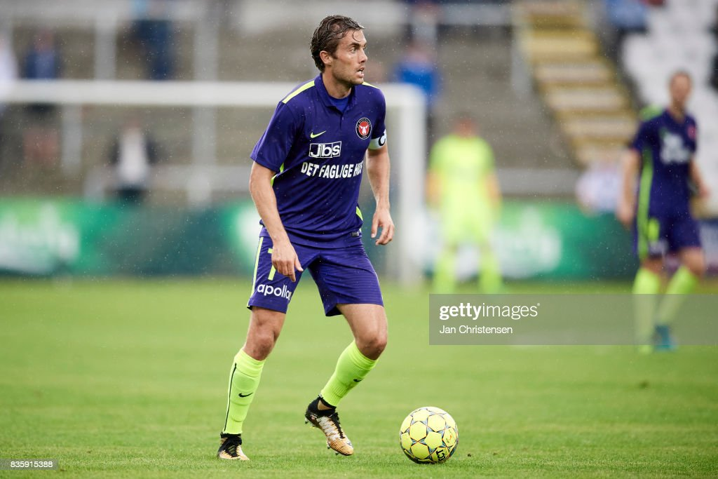Jakob Poulsen of FC Midtjylland controls the ball during the Danish Alka Superliga match between OB Odense and FC Midtjylland at TREFOR Park on August 20, 2017 in Odense, Denmark.