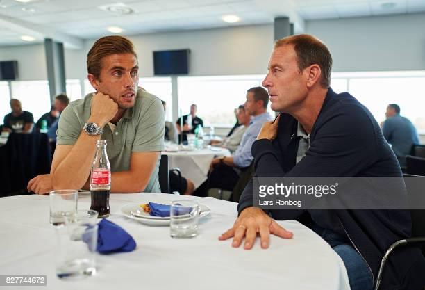 Jakob Poulsen of FC Midtjylland speaking to Jess Thurup head coach of FC Midtjylland during the Danish Alka Superliga media event at Brondby Stadion...