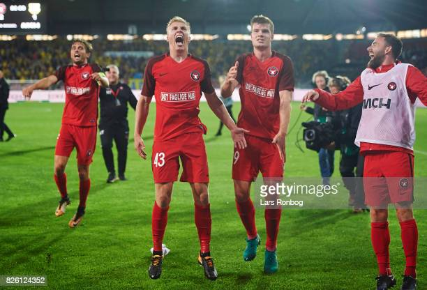 Jakob Poulsen Rasmus Nissen Alexander Sorloth and Janus Drachmann of FC Midtjylland celebrate after the UEFA Europa League Qualification 3rd round...