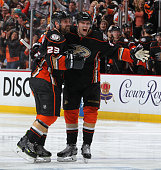 Jakob Silfverberg and Francois Beauchemin of the Anaheim Ducks celebrate against the Calgary Flames in Game Five of the Western Conference Semifinals...