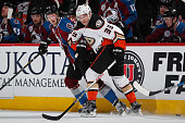 Jakob Silfverberg of the Anaheim Ducks and Carl Soderberg of the Colorado Avalanche pursue the puck at Pepsi Center on March 9 2016 in Denver...