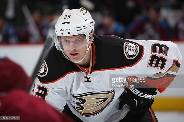 Jakob Silfverberg of the Anaheim Ducks awaits a face off against the Colorado Avalanche at Pepsi Center on April 9 2016 in Denver Colorado the Ducks...