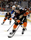 Jakob Silfverberg of the Anaheim Ducks carries the puck into the St Louis Blues end at Honda Center on January 2 2015 in Anaheim California