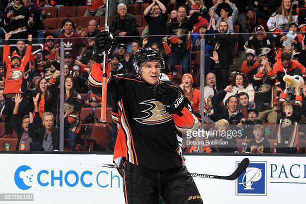 Jakob Silfverberg of the Anaheim Ducks celebrates a goal in the first period during the game against the Minnesota Wild on January 8 2017 at Honda...