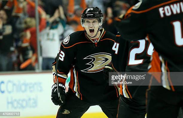Jakob Silfverberg of the Anaheim Ducks celebrates after scoring the game winning goal with 19 seconds left in the third period against the Winnipeg...