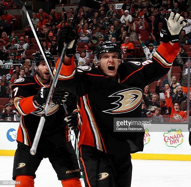 Jakob Silfverberg of the Anaheim Ducks celebrates his first period goal during the game against the Dallas Stars on January 15 2016 at Honda Center...