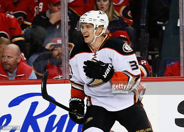 Jakob Silfverberg of the Anaheim Ducks celebrates his goal against the Calgary Flames in Game Four of the Western Conference Semifinals during the...