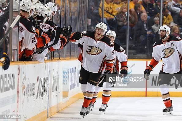 Jakob Silfverberg of the Anaheim Ducks celebrates his goal with the bench against the Nashville Predators during an NHL game at Bridgestone Arena on...