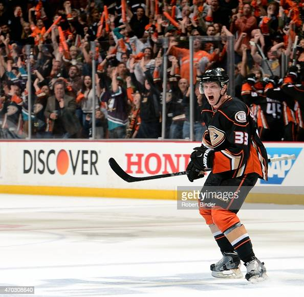 Jakob Silfverberg of the Anaheim Ducks celebrates his third period goal against Winnipeg Jets in Game Two of the Western Conference Quarterfinals...
