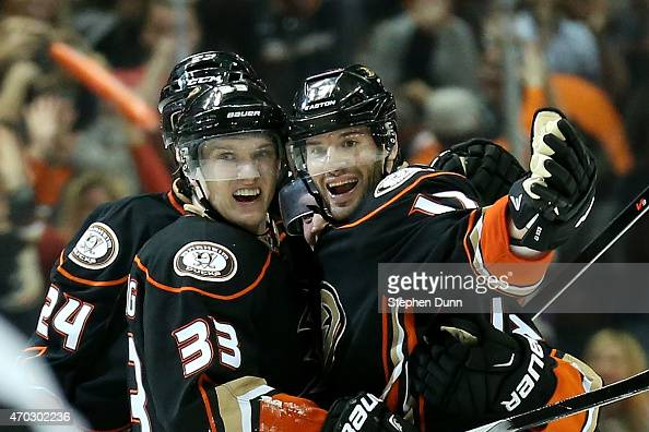 Jakob Silfverberg of the Anaheim Ducks celebrates with Ryan Kesler after scoring the game winning goal with 19 seconds left in the third period...