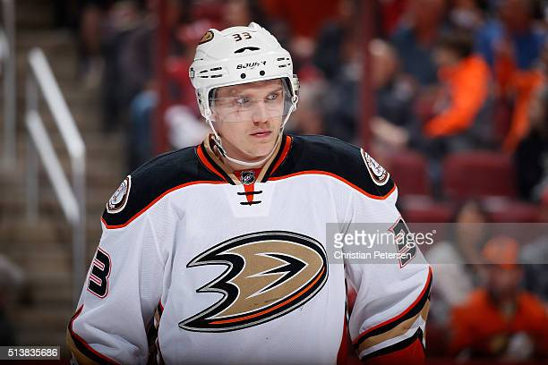 Jakob Silfverberg of the Anaheim Ducks during the NHL game against the Arizona Coyotes at Gila River Arena on March 3 2016 in Glendale Arizona The...