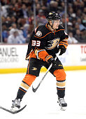 Jakob Silfverberg of the Anaheim Ducks folows play against the Calgary Flames at Honda Center on January 21 2015 in Anaheim California