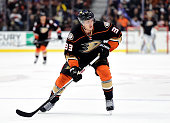 Jakob Silfverberg of the Anaheim Ducks forechecks against the Florida Panthers at Honda Center on November 4 2015 in Anaheim California