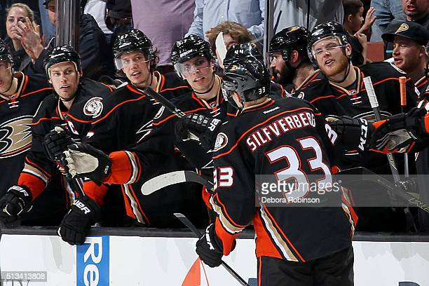 Jakob Silfverberg of the Anaheim Ducks gets congratulated by his teammates after a shootout goal against the Montreal Canadiens on March 2 2016 at...