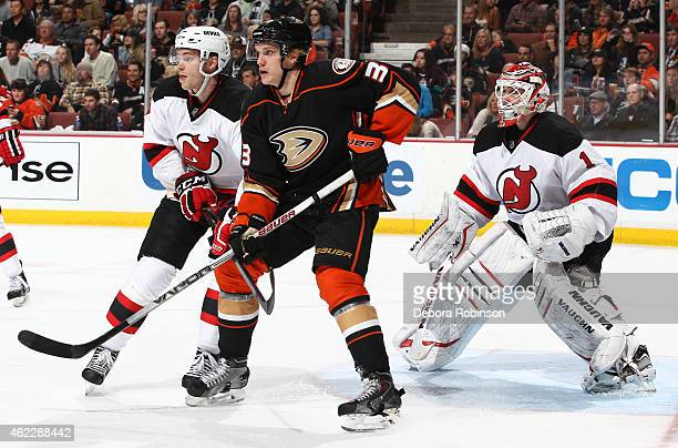 Jakob Silfverberg of the Anaheim Ducks gets into position in front of the net against the New Jersey Devils on January 16 2015 at Honda Center in...