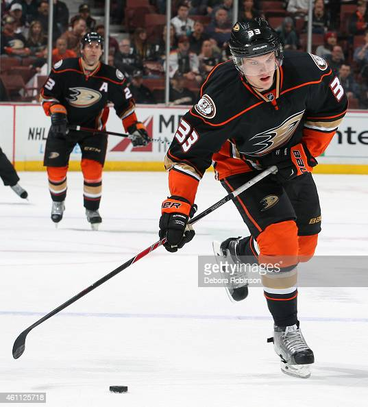 Jakob Silfverberg of the Anaheim Ducks handles the puck against the Nashville Predators on January 4 2015 at Honda Center in Anaheim California