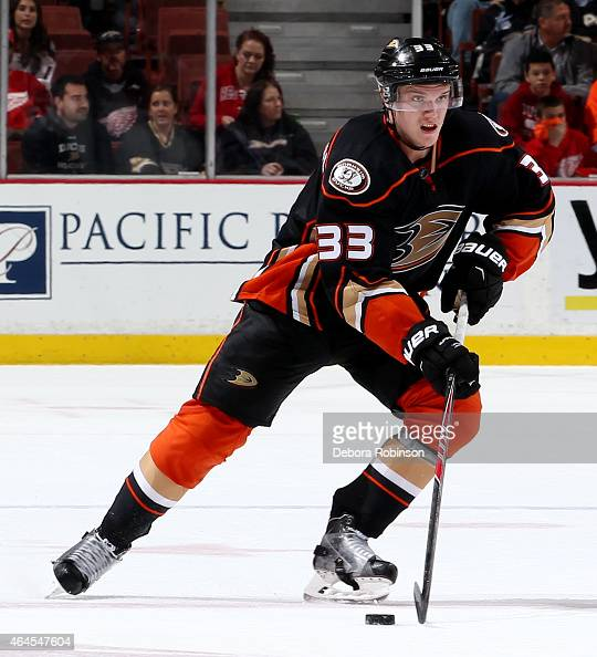 Jakob Silfverberg of the Anaheim Ducks handles the puck against the Detroit Red Wings on February 23 2015 at Honda Center in Anaheim California