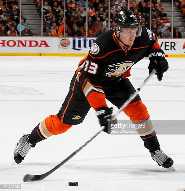 Jakob Silfverberg of the Anaheim Ducks handles the puck against the Chicago Blackhawks in Game Two of the Western Conference Finals during the 2015...