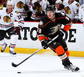 Jakob Silfverberg of the Anaheim Ducks handles the puck against the Chicago Blackhawks in Game Five of the Western Conference Finals during the 2015...