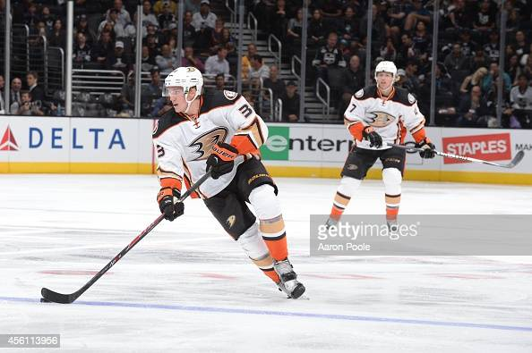 Jakob Silfverberg of the Anaheim Ducks handles the puck during a game against the Los Angeles Kings at STAPLES Center on September 25 2014 in Los...