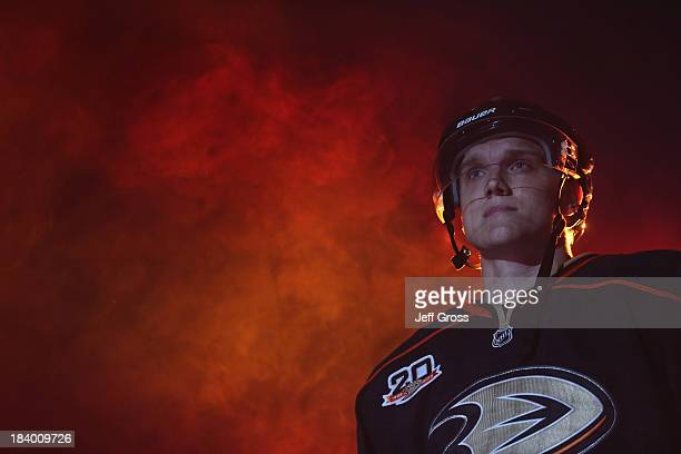 Jakob Silfverberg of the Anaheim Ducks is introduced prior to the start of the game against the New York Rangers at Honda Center on October 10 2013...