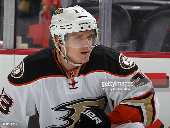 Jakob Silfverberg of the Anaheim Ducks looks on prior to the game against the New Jersey Devils at the Prudential Center on March 29 2015 in Newark...