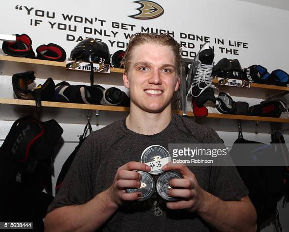 Jakob Silfverberg of the Anaheim Ducks poses for a photo after scoring a hat trick during the game against the New Jersey Devils on March 14 2016 at...