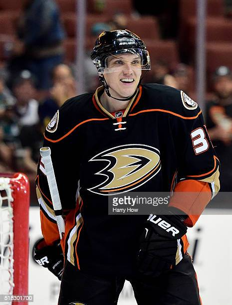 Jakob Silfverberg of the Anaheim Ducks reacts to his goal to take an 83 lead over the Calgary Flames during the third period at Honda Center on March...