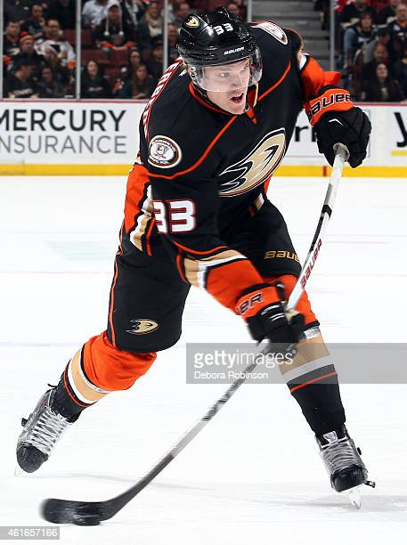 Jakob Silfverberg of the Anaheim Ducks shoots the puck against the New Jersey Devils on January 16 2015 at Honda Center in Anaheim California