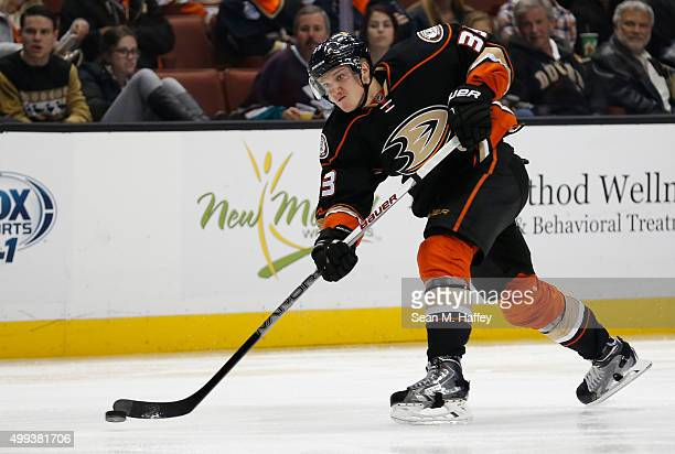 Jakob Silfverberg of the Anaheim Ducks shoots the puck and scores during the third period of a game against the Vancouver Canucks at Honda Center on...