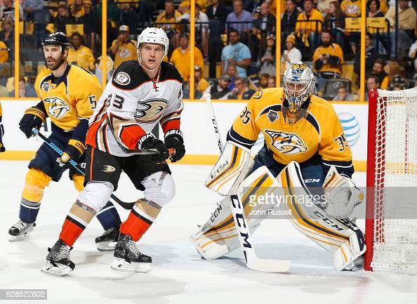 Jakob Silfverberg of the Anaheim Ducks skates against Pekka Rinne of the Nashville Predators in Game Six of the Western Conference First Round during...
