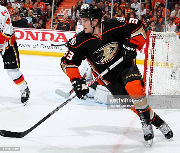 Jakob Silfverberg of the Anaheim Ducks skates against the Calgary Flames in Game Five of the Western Conference Semifinals during the 2015 NHL...