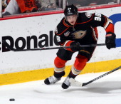 Jakob Silfverberg of the Anaheim Ducks skates against the Los Angeles Kings during Game One of the Second Round of the 2014 Stanley Cup Playoffs at...