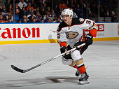 Jakob Silfverberg of the Anaheim Ducks skates against the New York Islanders at the Nassau Veterans Memorial Coliseum on March 28 2015 in Uniondale...