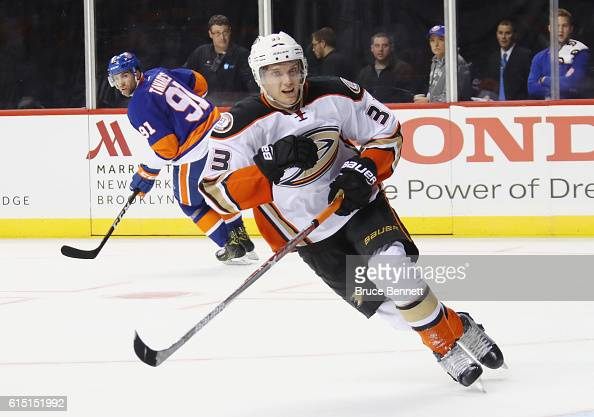Jakob Silfverberg of the Anaheim Ducks skates against the New York Islanders at the Barclays Center on October 16 2016 in the Brooklyn borough of New...
