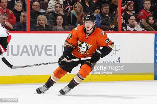 Jakob Silfverberg of the Anaheim Ducks skates against the Ottawa Senators at Canadian Tire Centre on March 26 2016 in Ottawa Ontario Canada