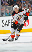Jakob Silfverberg of the Anaheim Ducks skates with the puck against the San Jose Sharks at SAP Center on September 26 2015 in San Jose California