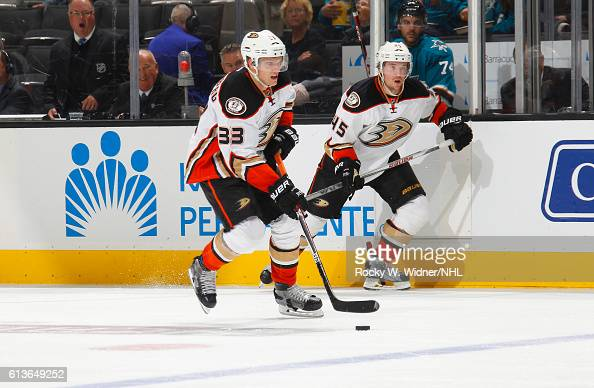 Jakob Silfverberg of the Anaheim Ducks skates with the puck against the San Jose Sharks at SAP Center on October 5 2016 in San Jose California