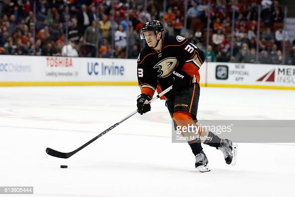 Jakob Silfverberg of the Anaheim Ducks skates with the puck during a game against the Montreal Canadiens at Honda Center on March 2 2016 in Anaheim...