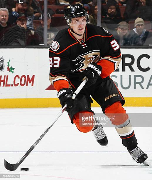 Jakob Silfverberg of the Anaheim Ducks skates with the puck during the game against the San Jose Sharks on December 4 2015 at Honda Center in Anaheim...