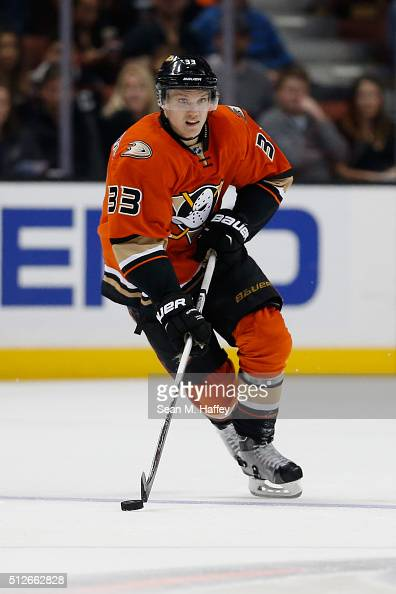 Jakob Silfverberg of the Anaheim Ducks skates with the puck during the first period of a game agains the Calgary Flames at Honda Center on February...