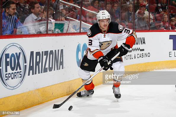 Jakob Silfverberg of the Anaheim Ducks skates with the puck during the NHL game against the Arizona Coyotes at Gila River Arena on March 3 2016 in...