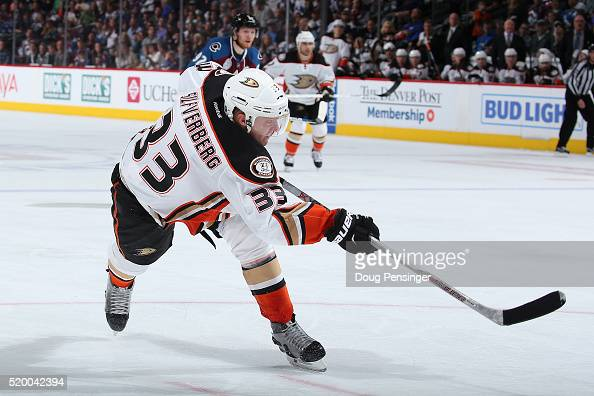 Jakob Silfverberg of the Anaheim Ducks takes a shot and scores against the Colorado Avalanche to take a 52 lead in the third period at Pepsi Center...