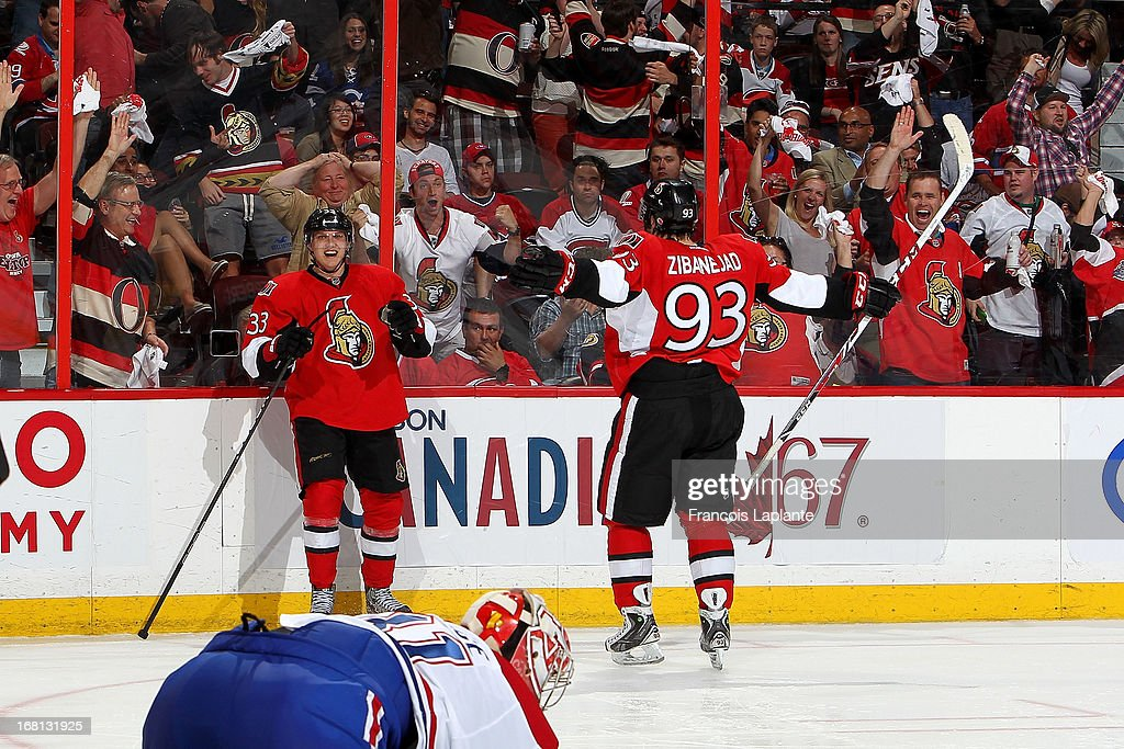 Jakob Silfverberg #33 of the Ottawa Senators celebrates his third period goal with Mika Zibanejad #93 against the Montreal Canadiens in Game Three of the Eastern Conference Quarterfinals during the 2013 NHL Stanley Cup Playoffs at Scotiabank Place on May 5, 2013 in Ottawa, Ontario, Canada.