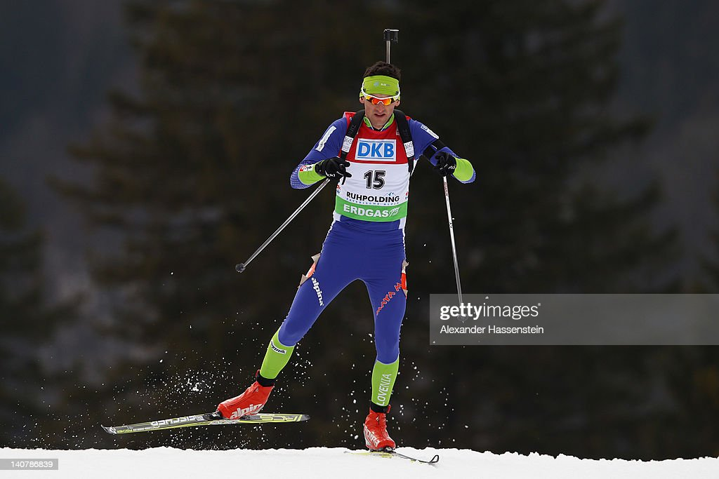 <a gi-track='captionPersonalityLinkClicked' href=/galleries/search?phrase=Jakov+Fak&family=editorial&specificpeople=5644158 ng-click='$event.stopPropagation()'>Jakov Fak</a> of Slovenia competes in the Men's 20km Individual during the IBU Biathlon World Championships at Chiemgau Arena on March 6, 2012 in Ruhpolding, Germany.
