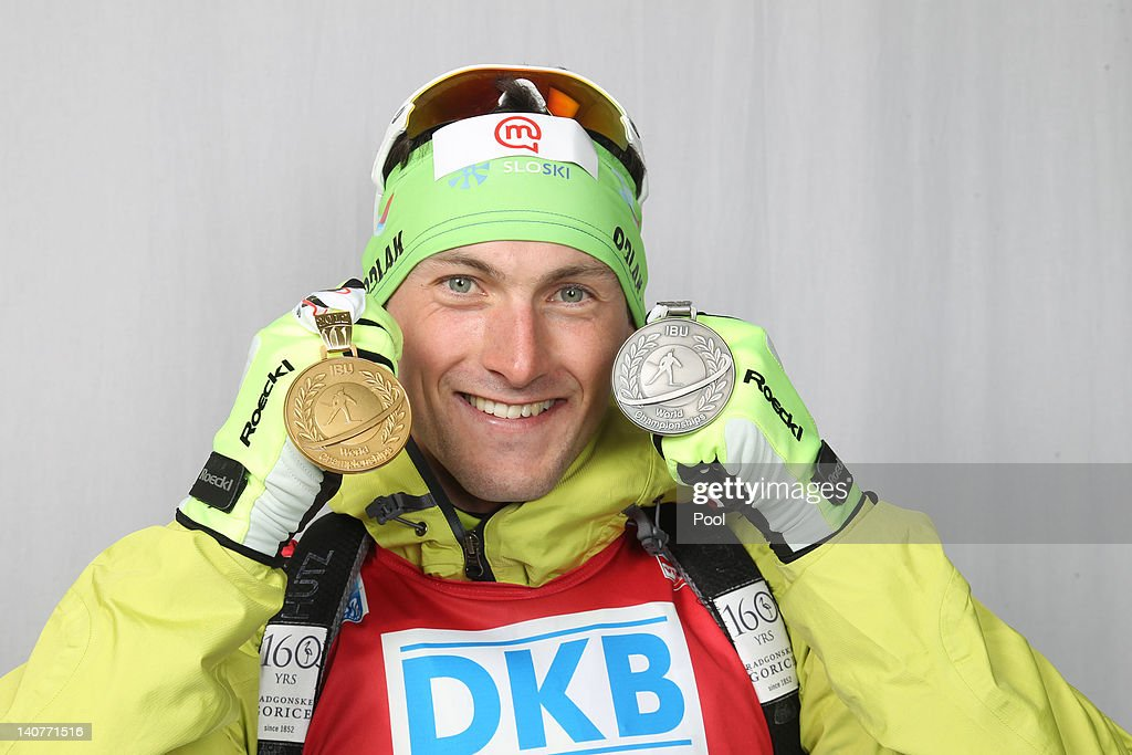 <a gi-track='captionPersonalityLinkClicked' href=/galleries/search?phrase=Jakov+Fak&family=editorial&specificpeople=5644158 ng-click='$event.stopPropagation()'>Jakov Fak</a> of Slovenia poses with his gold medal for the Men's 20km Individual during the IBU Biathlon World Championships at Chiemgau Arena on March 6, 2012 in Ruhpolding, Germany.