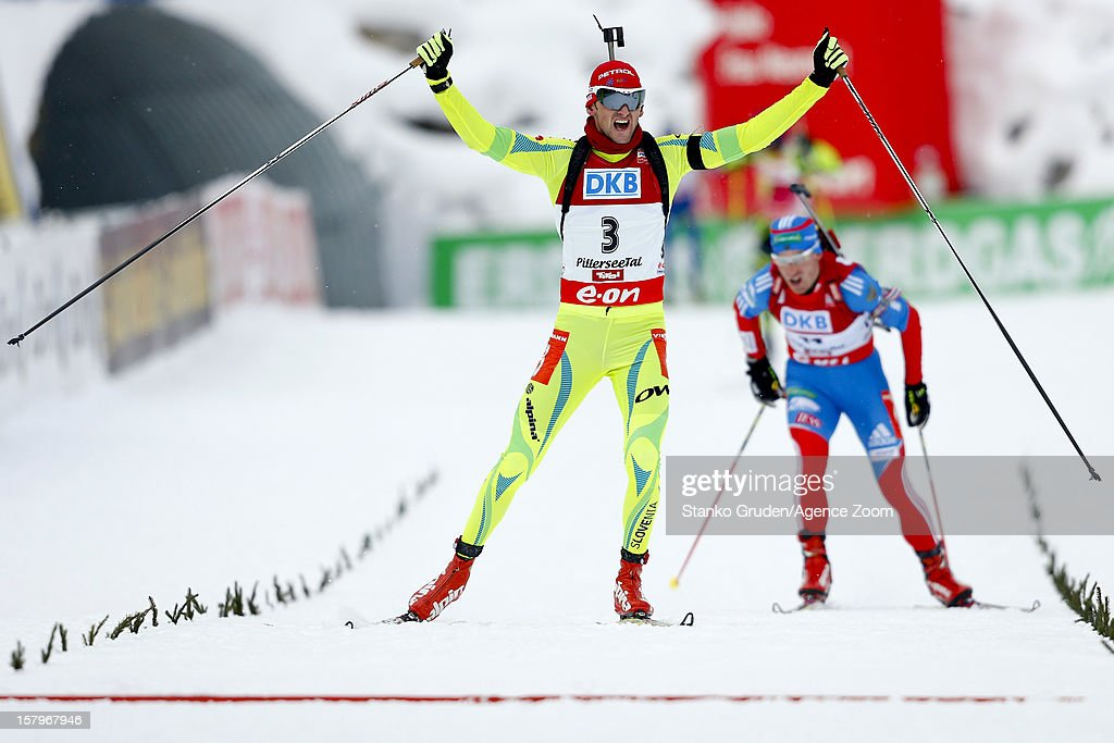 <a gi-track='captionPersonalityLinkClicked' href=/galleries/search?phrase=Jakov+Fak&family=editorial&specificpeople=5644158 ng-click='$event.stopPropagation()'>Jakov Fak</a> of Slovenia takes 1st place during the IBU Biathlon World Cup Men's Pursuit on December 8, 2012 in Hochfilzen, Austria.