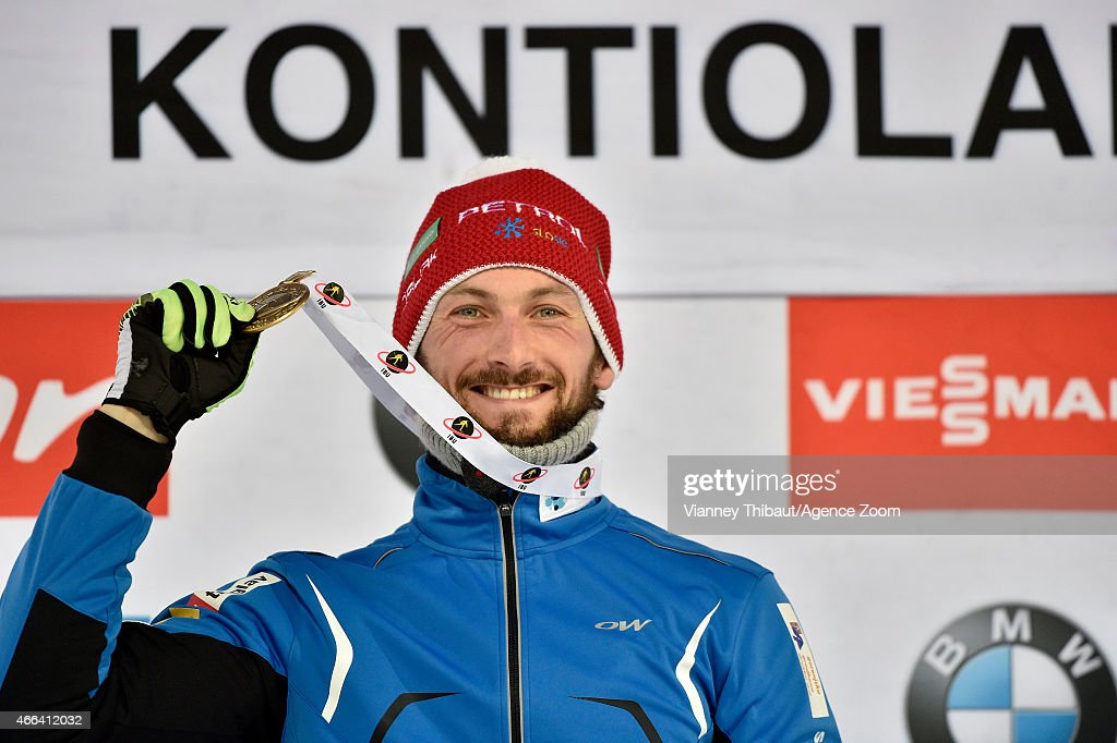 <a gi-track='captionPersonalityLinkClicked' href=/galleries/search?phrase=Jakov+Fak&family=editorial&specificpeople=5644158 ng-click='$event.stopPropagation()'>Jakov Fak</a> of Slovenia takes 1st place during the IBU Biathlon World Championships Men's and Women's Mass Start on March 15, 2015 in Kontiolahti, Finland.