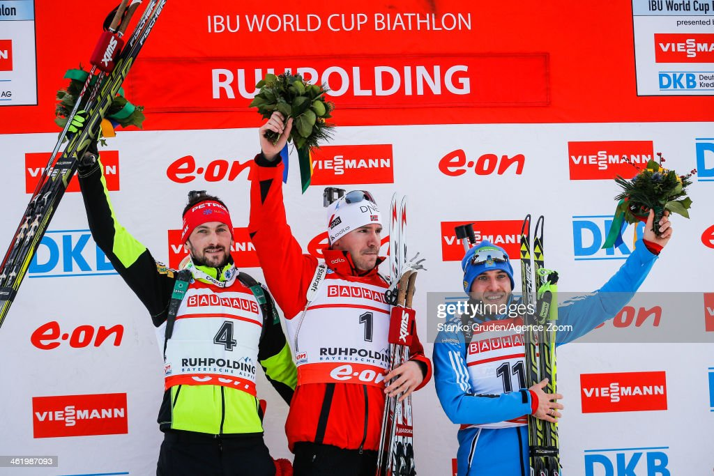 <a gi-track='captionPersonalityLinkClicked' href=/galleries/search?phrase=Jakov+Fak&family=editorial&specificpeople=5644158 ng-click='$event.stopPropagation()'>Jakov Fak</a> of Slovenia takes 2nd place, <a gi-track='captionPersonalityLinkClicked' href=/galleries/search?phrase=Emil+Hegle+Svendsen&family=editorial&specificpeople=831528 ng-click='$event.stopPropagation()'>Emil Hegle Svendsen</a> of Norway takes 1st place, <a gi-track='captionPersonalityLinkClicked' href=/galleries/search?phrase=Evgeniy+Garanichev&family=editorial&specificpeople=8772104 ng-click='$event.stopPropagation()'>Evgeniy Garanichev</a> of Russia takes 3rd place during the IBU Biathlon World Cup Men's and Women's Pursuit on January 12, 2014 in Ruhpolding, Germany.